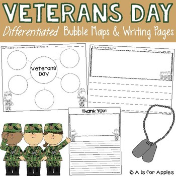 Veterans Writing {Bubble Graphic Organizers & Writing Pages}