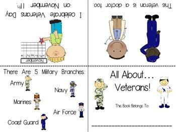 Veterans/Veterans Day Foldable Emergent Readers ~2 Versions~ PLUS Color & B&W