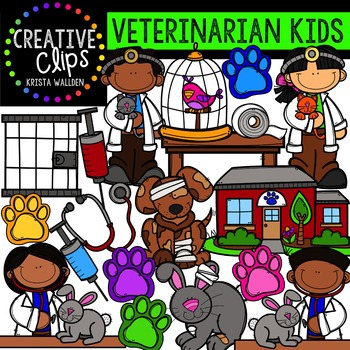 Veterinarian Kids {Creative Clips Digital Clipart}