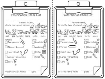 Veterinarian Play Checklist - Dramatic Play
