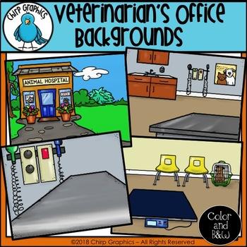 Veterinarian's Office Background Scenes Clip Art Set - Chirp Graphics