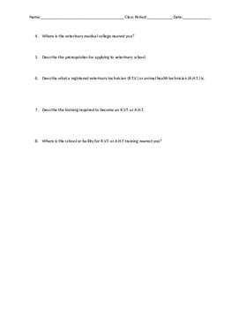 Veterinary Career Interest Worksheet