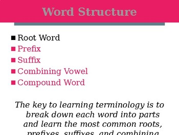 Veterinary Medical Terminology Roots and Prefixes