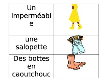 Core French Vetments Visual Dictionary or Image Cards