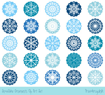 Christmas snowflake ornaments clipart, White snowflakes in blue scalloped circle