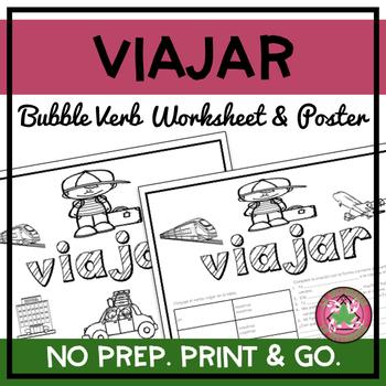 Viajar Bubble Verb Worksheet and Poster