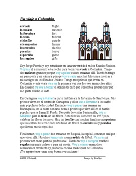 Viaje a Colombia Lectura: Trip to Colombia **FREEBIE**