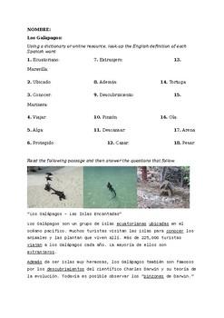 Viaje a las Islas Galápagos - Reading practice with Regular Present Tense Verbs