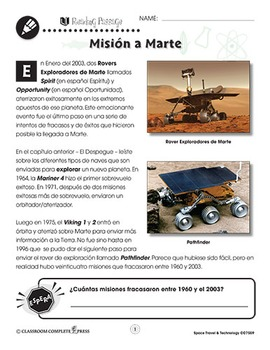 Viajes y tecnología espacial: Misión a Marte
