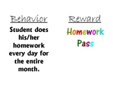 Vibrant Behavior/Reward Chart Elementary, Middle or High School