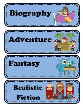 Vibrant Genre Book Bin Labels
