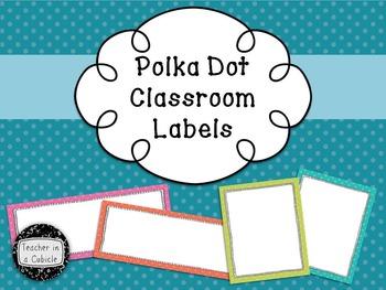 Vibrant Polka Dot Classroom Labels