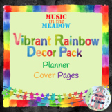 Vibrant Rainbow Watercolor Music Room Decor: Planner Cover Pages