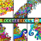 Vibrant Watercolour Doodle Border Decorations