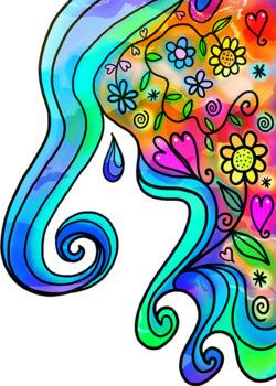 Vibrant Watercolour Doodle Border Decorations