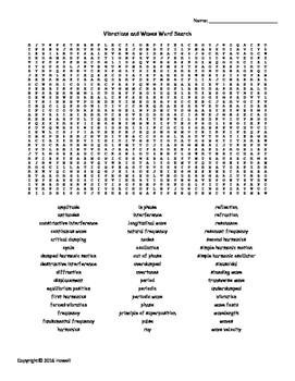 Vibrations and Waves Vocabulary Word Search for Physics