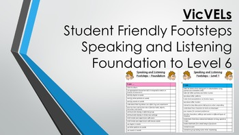 VicVELs Child Friendly Speaking and Listening Footsteps Foundation to Level 6