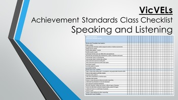 VicVELs Speaking and Listening Achievement Standards Class
