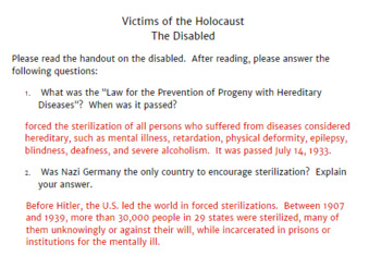 Victims of the Holocaust: The Disabled