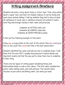 Victor and Vicky Verb- action, linking, main, and helping verbs with craftivity