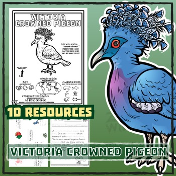 Victoria Crowned Pigeon -- 10 Resources -- Coloring Book, Reading & Activities