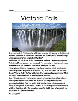 Victoria Falls - Lesson article questions activities Wonde
