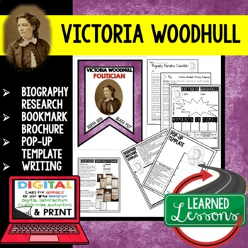 Victoria Woodhull Biography Research, Bookmark Brochure, Pop-Up, Writing