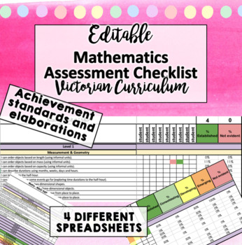 Victorian Curriculum Achievement Assessment Checklist - MATHS P-6