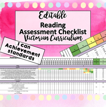 Victorian Curriculum ENGLISH READING p-6 Assessment Tracker checklist!! EDITABLE