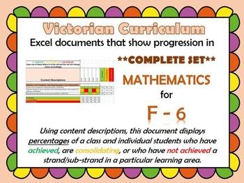 Victorian Curriculum F- 6 Math's Progression Excel **BUNDLE**