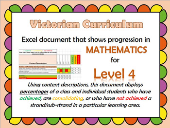 Victorian Curriculum Level 4 Math's Progression Excel