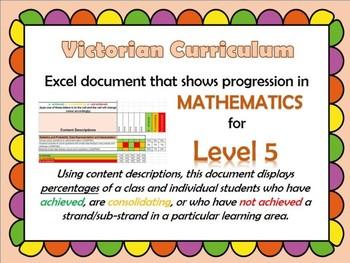 Victorian Curriculum Level 5 Math's Progression Excel