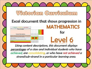 Victorian Curriculum Level 6 Math's Progression Excel