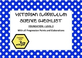 Victorian Curriculum Science Checklist - Foundation - Level 2