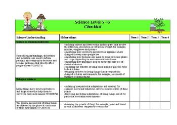 Victorian Curriculum Science Checklist - Level 5-6