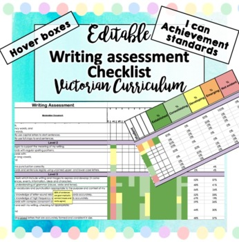 Victorian Curriculum Writing Assessment English Checklist Tracker Prep - 6