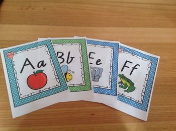 Victorian Cursive Alphabet posters (polka dot + owl theme)