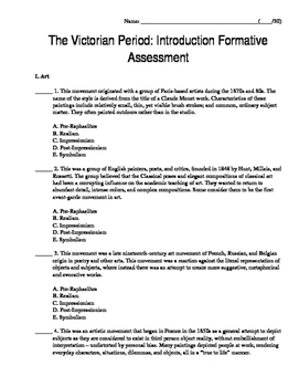 Victorian Era Introduction - Formative Assessment