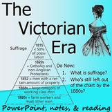 VICTORIAN ERA & BRITISH WOMEN'S SUFFRAGE: powerpoint, cloze notes, & reading