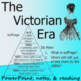 VICTORIAN ERA & BRITISH WOMEN'S SUFFRAGE: powerpoint, cloze notes, & reading