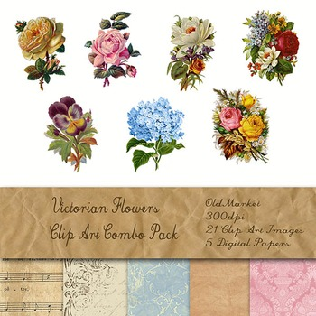 Victorian Flowers Clip Art and Digital Paper Kit