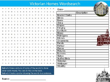 Victorian Homes Wordsearch Sheet Cartoon Starter Activity Art & Design