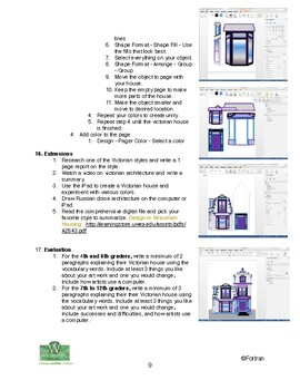Victorian House Computer Lesson for Grades 4 to 12