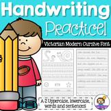 Victorian Modern Cursive Handwriting Practice Sheets