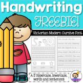 Vic Modern Cursive Handwriting Practice Sheets Letter Aa FREEBIE