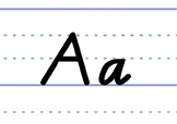 Victorian Modern Cursive font on dotted thirds - printable