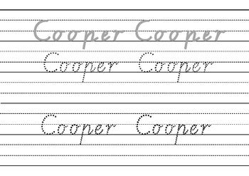 Victorian Modern Cursive name practise - Cooper