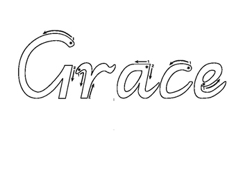 Victorian Modern Cursive name practise - Grace