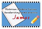 Victorian Modern Cursive name practise - James