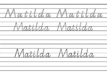 Victorian Modern Cursive name practise - Matilda